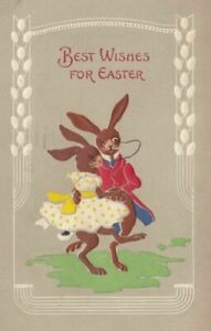Cute-Dressed-Bunny-Rabbits-Dancing-Antique-Embossed-Easter-Postcard-m746