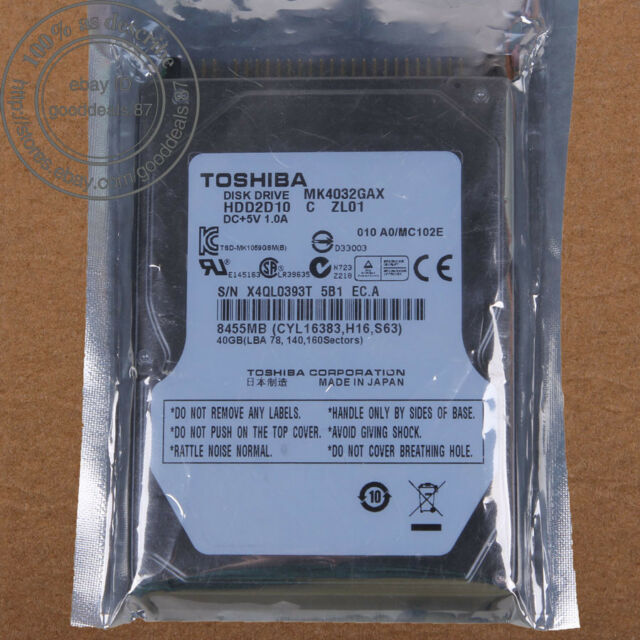 "TOSHIBA 40 GB 2.5"" IDE PATA 5400 RPM 8 MB Hard Disk Drive HDD Laptop MK4032GAX"