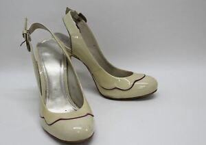 CARVELA-Ladies-Cream-Patent-Leather-Round-Toe-Heeled-Slingback-Shoes-UK8-EU41