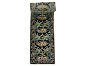 3X35-Black-William-Morris-Art-amp-Craft-Hand-Knotted-Wool-Runner-Rug-2-8-x-34-7