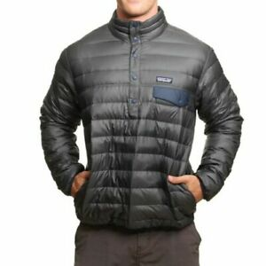 Patagonia Men/'s Down Snap-T Pullover 600 Navy Blue Fill Large