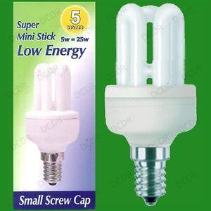 6x 5w low energy cfl mini stick light bulbs ses e14 small screw image is loading 6x 5w low energy cfl mini stick light aloadofball Image collections