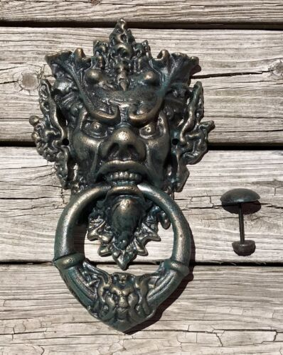"Cast Iron Large Devil Face Vintage Blue-Gold 14.5"" Door Knocker"