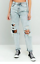 WOMENS GIRLS URBAN CROPPED MOM ACID WASH RIPPED JEANS MID RISE STRAIGHT