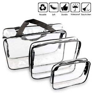 Details About Clear Toiletry Makeup Bags Pvc Plastic Travel Cosmetic Bag With Zipper 3 Pack