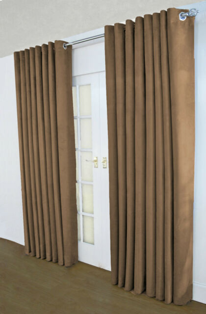 Suzy faux suede lined plain ring top curtains, mocha - LAST FEW & FREE POST !!