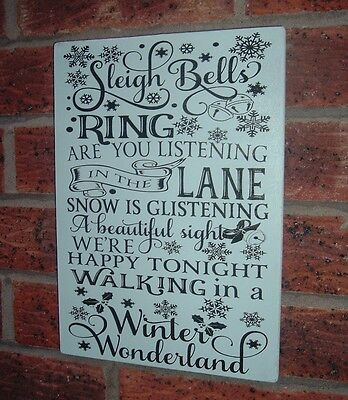 Sleigh bells ring are you listening christmas plaque shabby vintage chic sign
