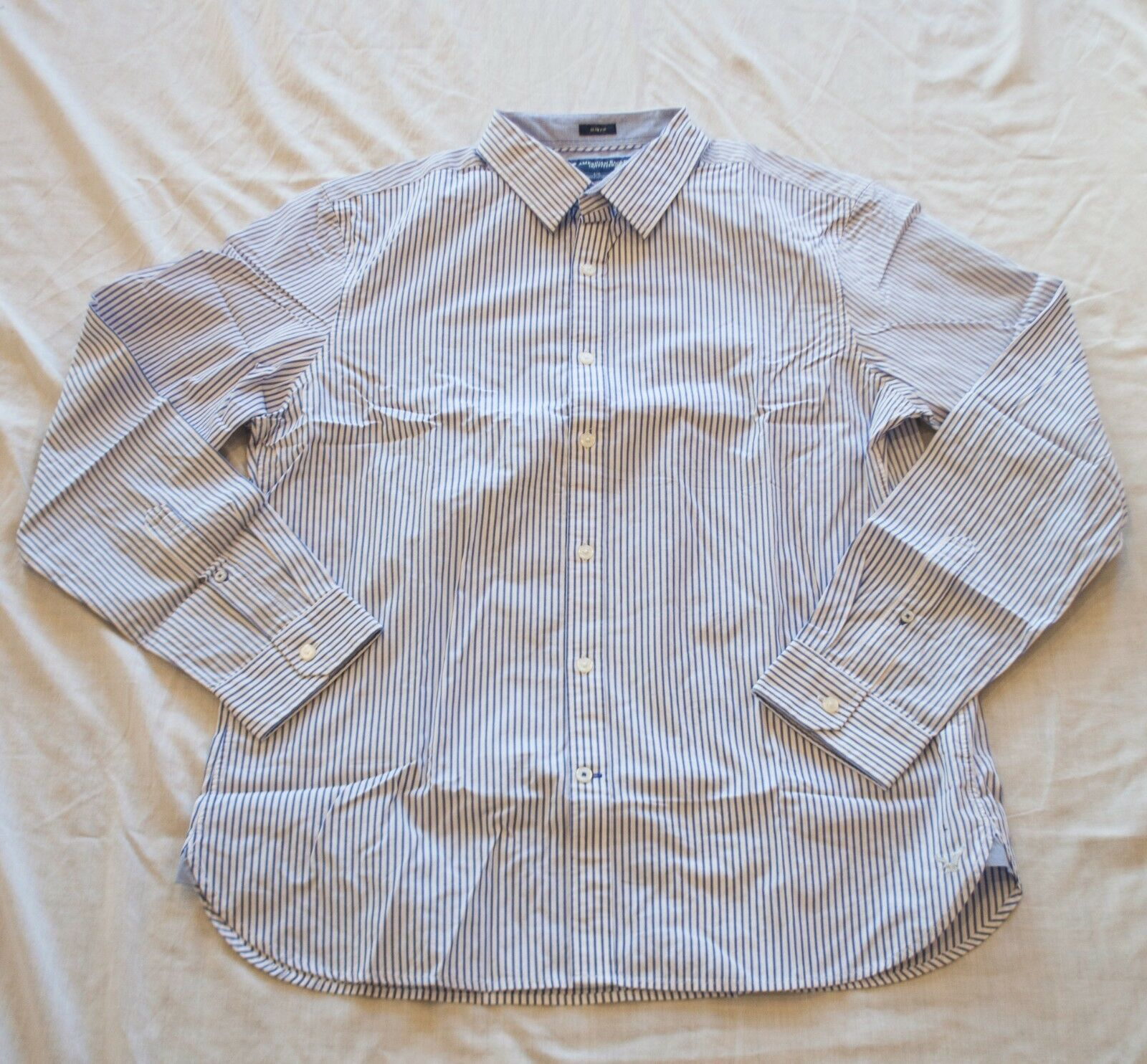 NWT Mens American Eagle AE bluee and White Striped Button Up Shirt Size Large