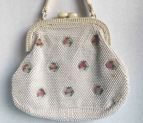 1950's White Beaded Marchioness Purse-Floral Beadi