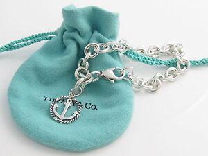 b6337ba6c08d4 Details about Tiffany & Co Silver Anchor Circle Charm Bracelet Bangle