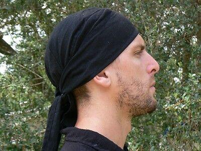 BANDANNA Doo Rag Pirate Costume Renaissance Zootzu Biker Skull Cap Cotton Black