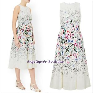 MONSOON-NELLIE-IVORY-MIX-FLORAL-BLOOM-50s-PROM-COCKTAIL-VINTAGE-DRESS-8-18-NEW