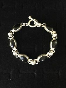 Vintage-Sterling-Silver-Bracelet-Black-Onyx-Oval-Links-Mexico-Toggle-Clasp-6-5-034