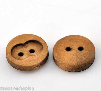 """100PCs Coffee 2 Holes Round Wood Sewing Buttons 15mm(5/8"""") Dia."""