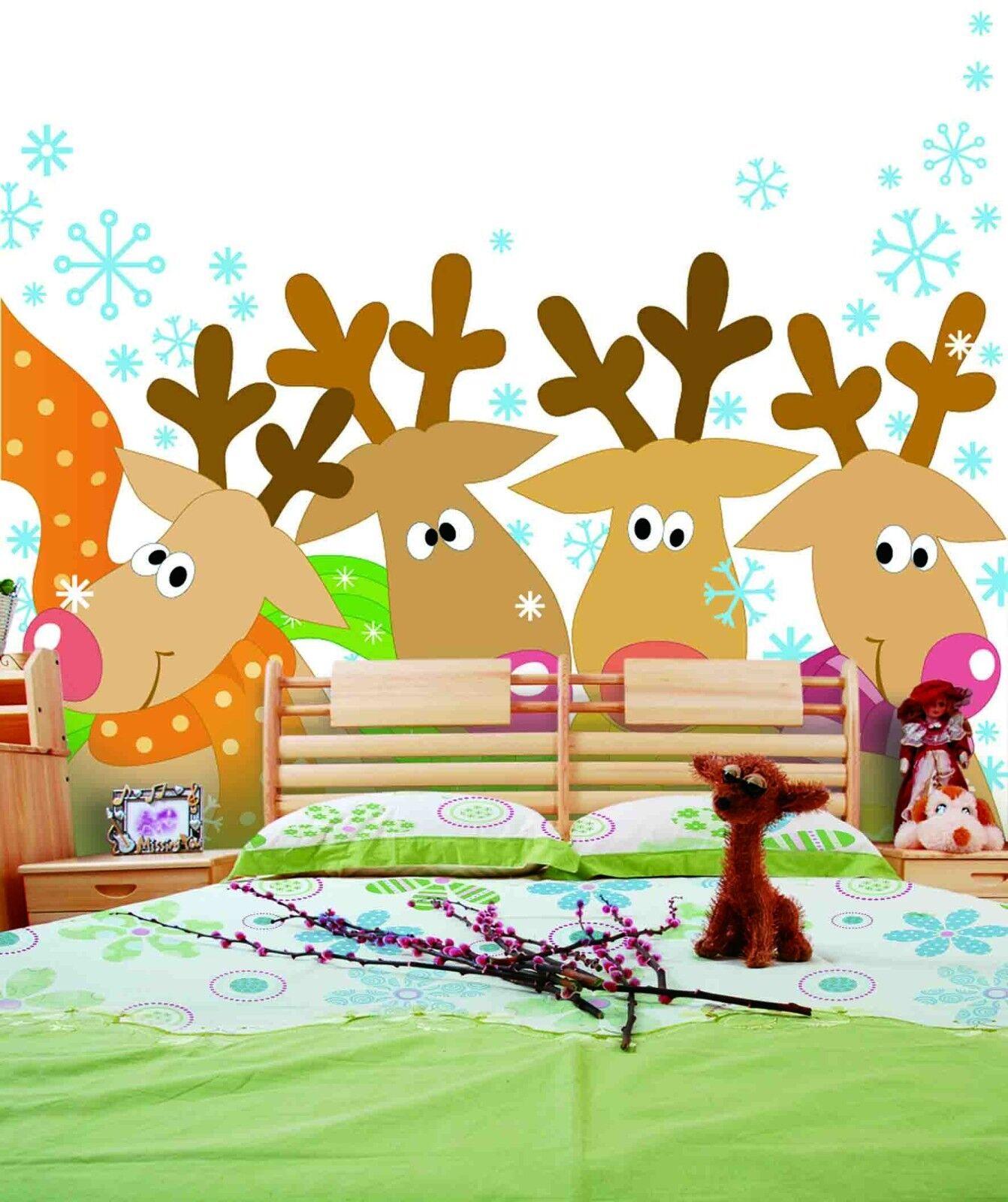 3D Deer Snowflakes 53 Wallpaper Murals Wall Print Wallpaper Mural AJ WALL AU