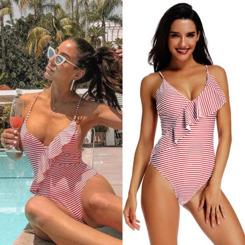 Damen Monokini Push Up Padded Bikini Streifen Einteiler Badeanzug Bademode 32-40