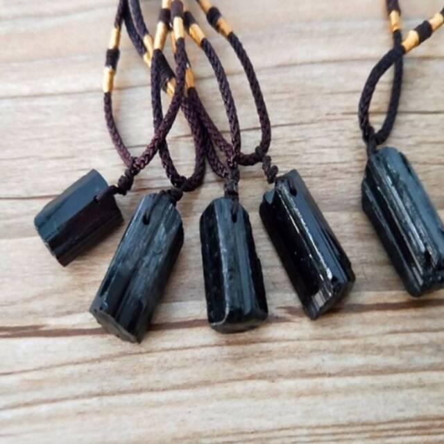 Black Tourmaline Stone Pendant Necklace Crystal Gem Specimen