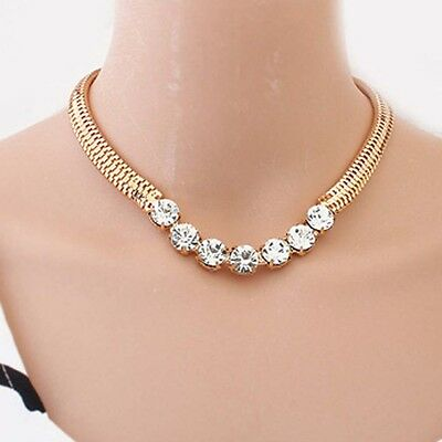 Fashion Women  JewelryGold Plated Chain Snap Rhinestone Crystal Bib Necklace