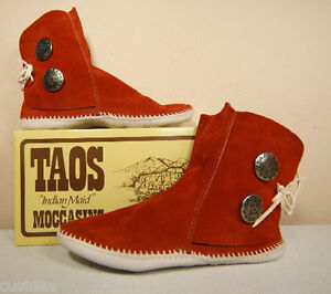 NEW-TAOS-INDIAN-MAID-MENS-Rust-LEATHER-Moccasins-3000M