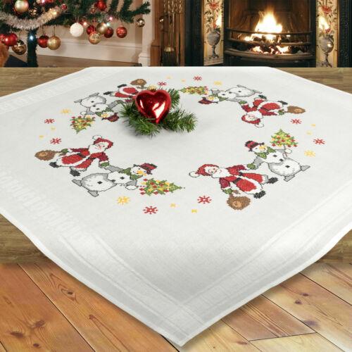 Stickpackung Kreuzstich Mitteldecke Weihnachten komplett mit Garn,vorgedruckt