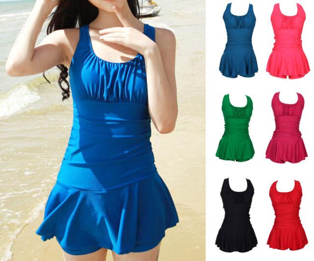 Women Ladies One Piece Swimwear Swimdress Bathing Suit AU Size 6 8 10 12 14 1141