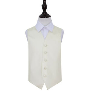 DQT-Satin-Plain-Solid-Ivory-Page-Boys-Wedding-Waistcoat-2-14-Years