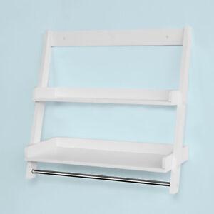 Sobuy White Wall Mounted Towel Rail Rack Bathroom Storage Shelf Frg117 W Uk 6900021368223 Ebay