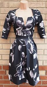 WANT-THAT-TREND-BLACK-GREY-FLORAL-CROP-SLEEVE-SKATER-PROM-TEA-A-LINE-DRESS-10-S