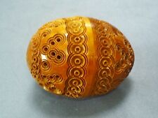 ANTIQUE CARVED COQUILLA NUT EGG SHAPED SEWING THIMBLE CASE/ETUI OR FLEA TRAP