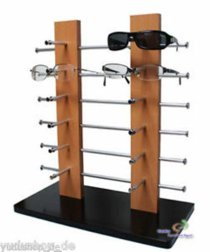Brillenständer Brillenpräsenter Holz für 12 Brillen hellbraun
