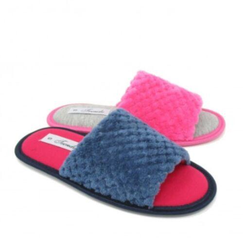 Womens Open Toe Mule Slippers Soft Furry Peep Girls Ladies UK Size 3 4 5 6 7 8