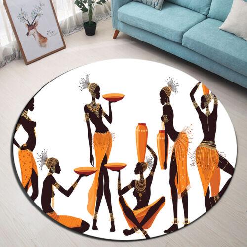 Round Carpet Retro Vase African Women Living Room Area Rugs Non-slip Floor Mat