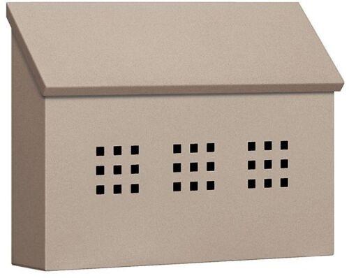 Wall Mount Mailbox Horizontal Galvanized Steel with Storage Compartment Beige