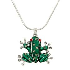 "Exotic Green Frog Charm Pendant Necklace - Enamel - Sparkling Crystal -17"" Chain"