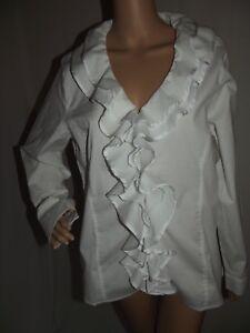 631825416f1 ASHLEY STEWART 12 WHITE COTTON RUFFLE V-NECK Zipper FRONT SHIRT top ...