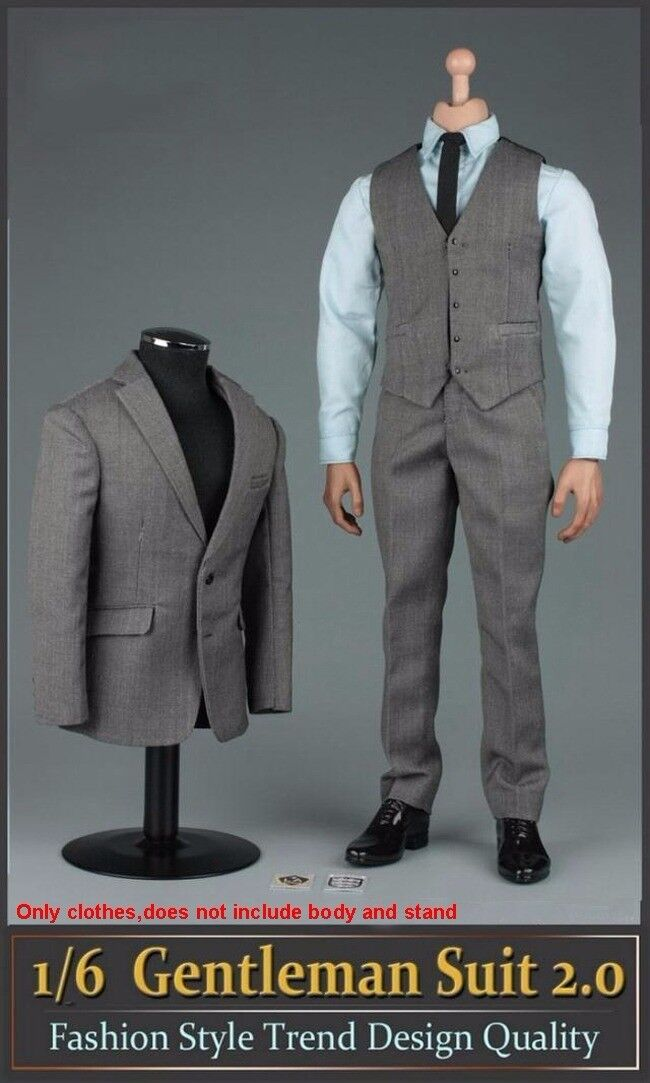 1 6 Gentleman Grey Suit 2.0 Clothes Set Fashion Style For 12  Figure Body Toys