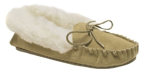 Mokkers KIRSTY LS351 Leather Moccasin Slipper Made in England Taupe Real Suede