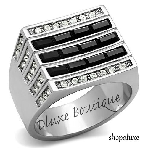MEN'S BLACK & CLEAR CUBIC ZIRCONIA SILVER STAINLESS STEEL RING SIZE 8-13