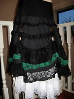 Long Black,green Tiered Layered Hitch Lace Skirt Lolita,lagenlook,goth,rock,punk