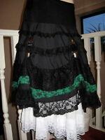 Long Black,green Tiered Layered Hitch Lace Skirt Lolita,lagenlook,goth,rock,punk