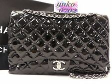 d5609 Auth CHANEL Black Patent Leather MAXI Double Flap Chain Shoulder Bag SHW