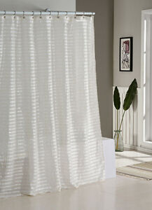 Image Is Loading Fabric Shower Curtain Natural Linen Blend White And
