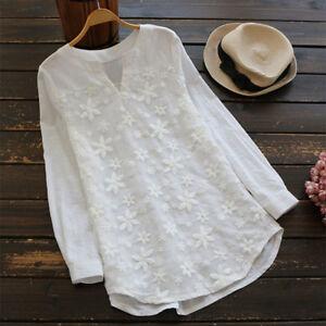 Womens-Floral-Long-Sleeve-Loose-Boho-V-Neck-Blouse-Casual-Tops-Baggy-Beach-Shirt