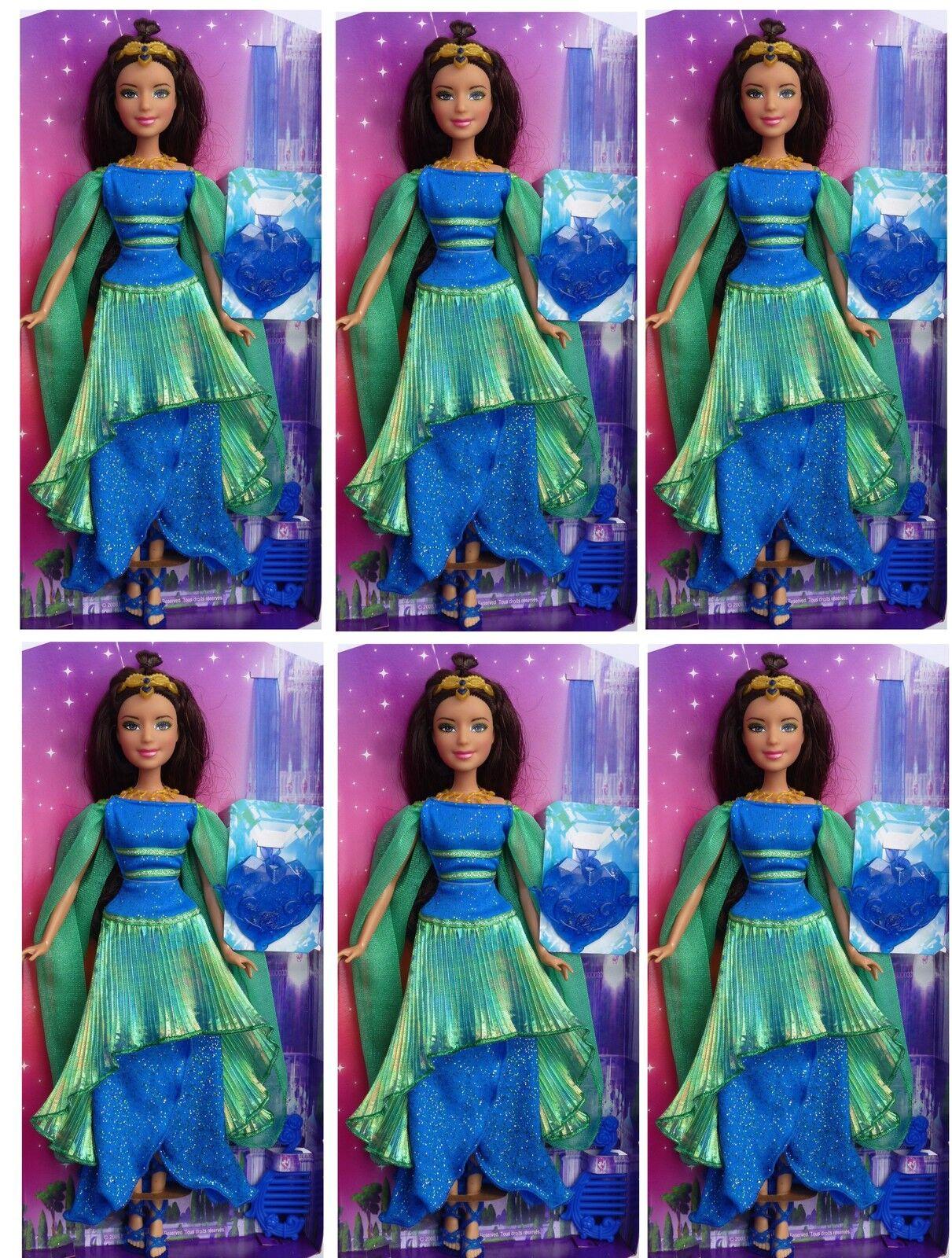 6 x Barbie Mattel Puppe mint blaues Ballkleid als Mitgebsel für Mädchen Party