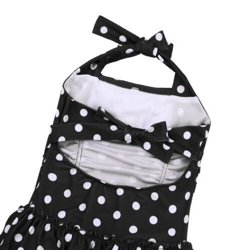 Filles One Piece Polka Dot maillot de bain floral imprimé Tankini baignade Set