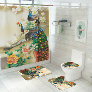 Peacock-Bathroom-Rug-Set-Shower-Curtain-Non-Slip-Toilet-Seat-Lid-Cover-Bath-Mat