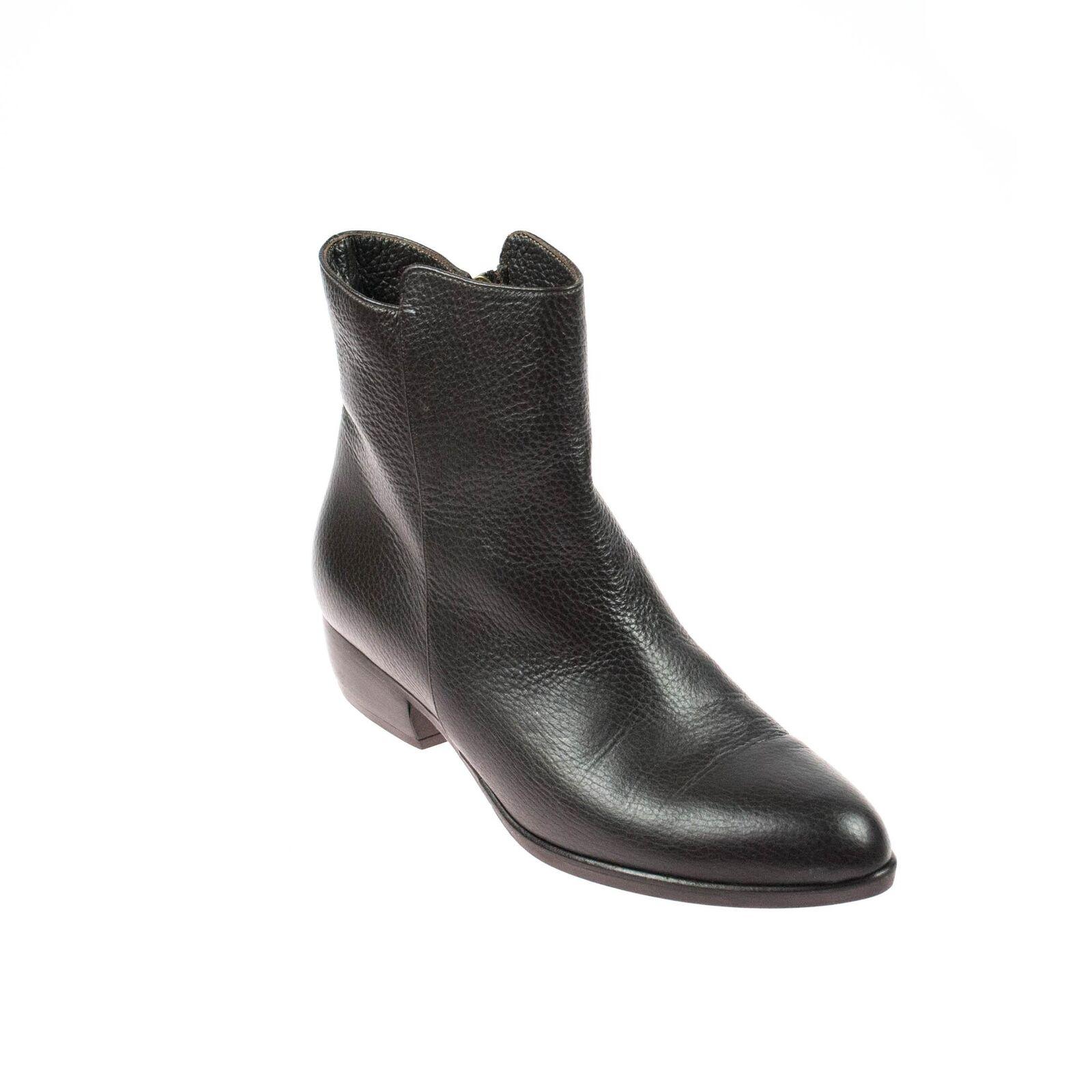 Marvib señora botín de cuero marrón