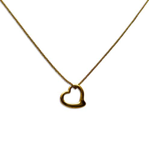 Edelstahl Halskette 40-75cm mit Herz Anhänger 23 x 14mm 18K Vergoldet 1233e