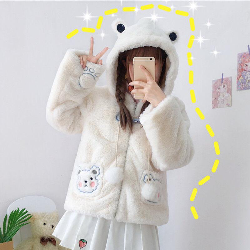 Kawaii Bear Ears Hooded Furry Short Coat Bear Embroidery Japan Women Outerwear