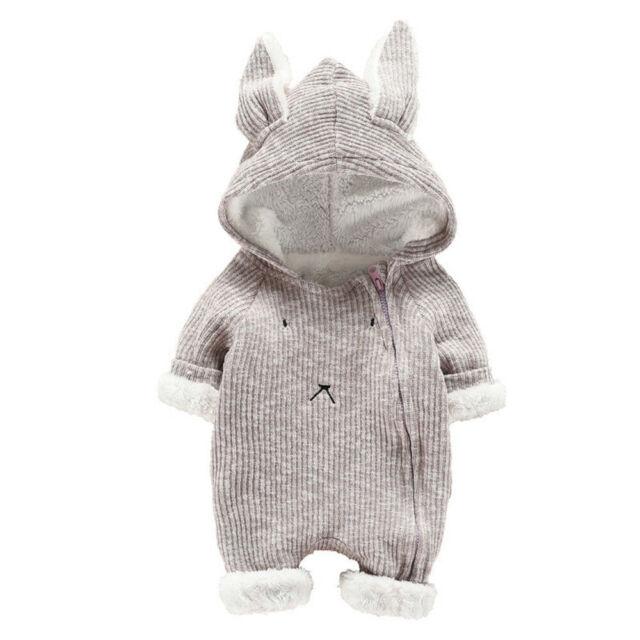 Infant Baby Boys Girls Cartoon Rabbit 3D Ear Hoodie Jumpsuit Romper Bodysuit Warm Clothes Outfits